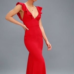 NWT Lulu's Perfect Opportunity Red Maxi Dress